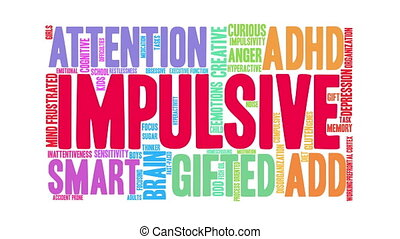 Impulsive Word Cloud - Impulsive ADHD word cloud on a white...