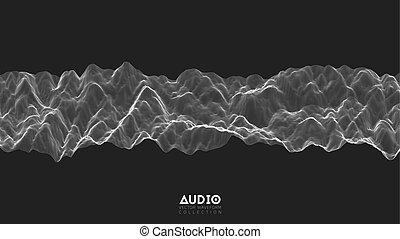 impulso, negro, vector, spectrum., onda, audio, resumen,...