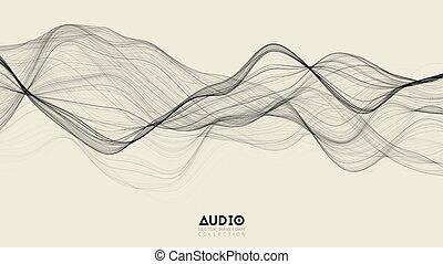impulso, nero, vettore, spectrum., onda, audio, astratto,...