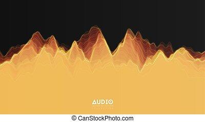 impulso, vector, spectrum., encendido, onda, audio, resumen,...