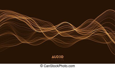 impulso, vetorial, spectrum., glowing, onda, áudio,...