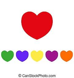 imulti-colored, cuore, illustrazione, cons., vettore