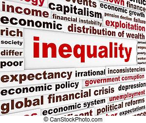 inégalité, créatif, mots, concept