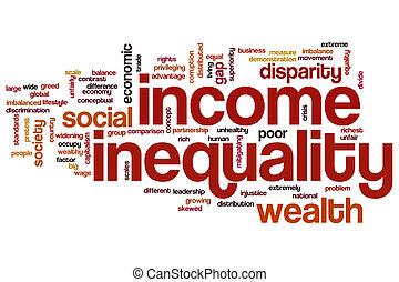 inégalité, mot, nuage, revenu