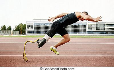 início, corredor, pista, incapacitado