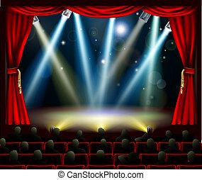 início, de, espantoso, entretenimento, evento