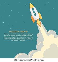 início, launch., cima, foguete, espaço