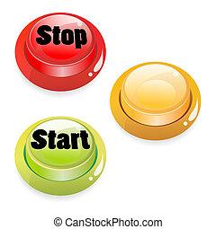 início, parada, empurre botão