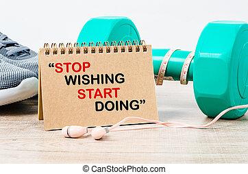 início, wishing., parada, doing.