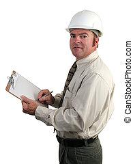 inżynier, biorąc notatnik