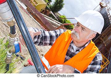 inżynier, budowniczy, umieszczenie zbudowania