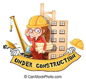 inżynier, pod zbudowanie, samica, znak
