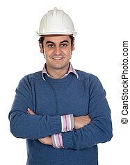 inżynier, z, biały, hełm