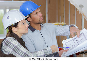 inżynierowie, umiejscawiać, projekt, zbudowanie, dyskutując, architekci