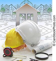 inženýrství, pracovní, deska, dílo, tera