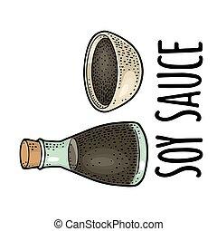 in a bottle and bowl.. Vector black vintage engraving illustration