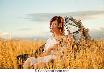 In a field