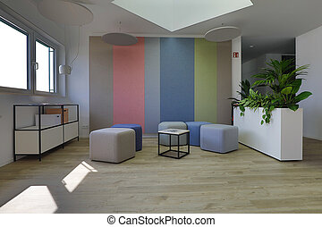 in a modern office floor there is a beautiful entrance area