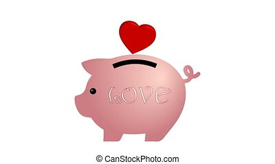In a piggy Bank are falling red hearts Valentines. Chromakey