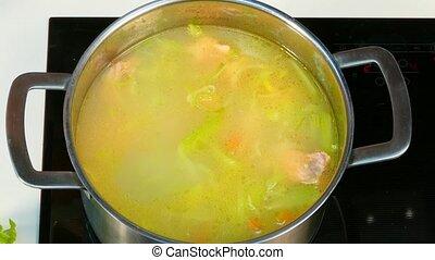 In a saucepan with cream add cream