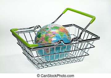shopping basket - In a shopping basket is a small globe.