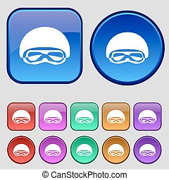 In a ski masks, snowboard ski goggles, diving mask icon sign. A set of twelve vintage buttons for your design. Vector