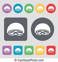 In a ski masks, snowboard ski goggles, diving mask icon sign. A set of 12 colored buttons. Flat design. Vector