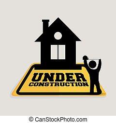 in aanbouw, arbeider, woning, cassette, het meten