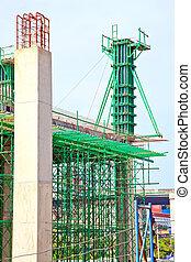 in aanbouw, bouwterrein, verticaal