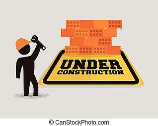 in aanbouw, met, arbeider, moersleutel, baksteen muur
