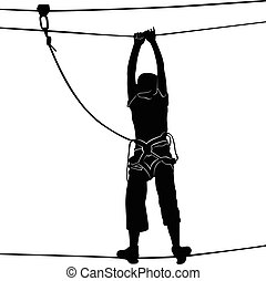 in adventure park rope ladder.