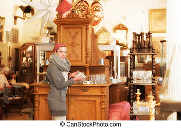 In an antique shop