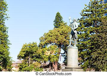 in austalia sydney the antique statue of captain cook in...