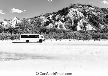in australia and the sand track of the bus