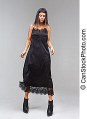 In black dress nightie underwear lace