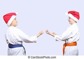 In caps of Santa Claus athletes