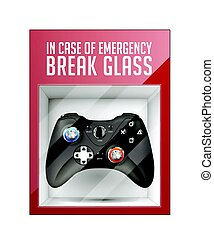 In case of emergency break glass concept - game pad concept