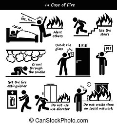 In Case of Fire - A set of human pictogram representing fire...
