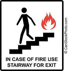 in case of fire use stairway for exit sign. man going on emergency exit. warning banner. vector symbol.
