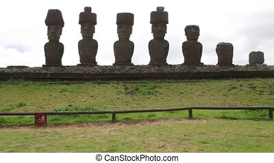 statue symbol of an ancien culture - in chile rapa nui the...