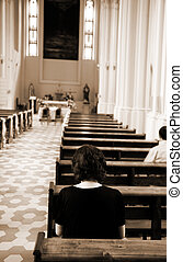 in church - special toned photo f/x, focus point on nearest...