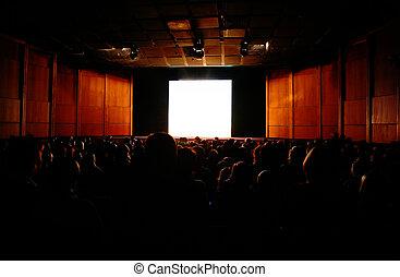 in cinema, focus on screen