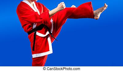 In cloth Santa Claus girl beats