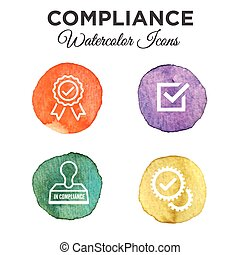 In Compliance Icon Set - Outline - Watercolor - Watercolor...