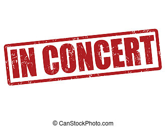 In concert stamp - In concert grunge rubber stamp on white,...