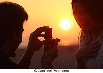 in controluce, di, uno, proposta matrimonio, a, tramonto