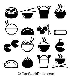 in crosta, fortuna, cibo cinese, primavera, lontano, biscotti, -, gnocchi, riso, prendere, pasta