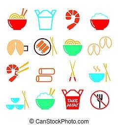 in crosta, fortuna, cinese, icone, cibo, primavera, lontano, -, biscotti, riso, prendere, pasta