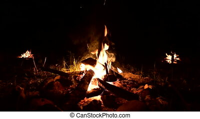 In darkness, three bonfire burn. Sparks fly from fire. ...