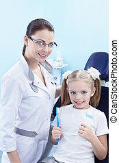 in, de, dentaal, kliniek